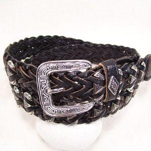 County Seat Western Woven Black Leather Belt